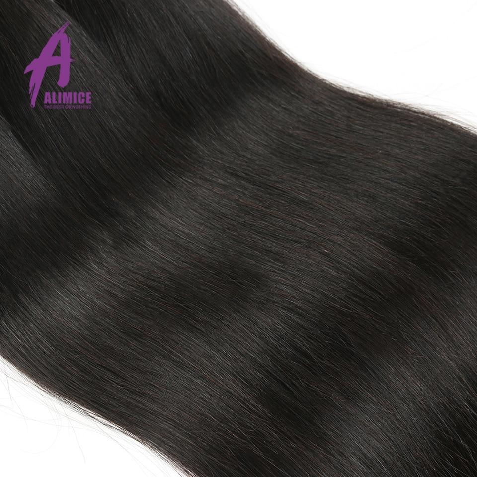 Alimice Hair Brazīlijas taisnas Remy matu aušanas komplekti 100% - Cilvēka mati (melnā krāsā) - Foto 5