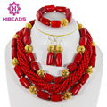 Nigerian Wedding Beads Jewelry Set African Red Coral Beads Jewelry Set 2016 New Bridal Jewelry Best Selling Free Shipping CJ012