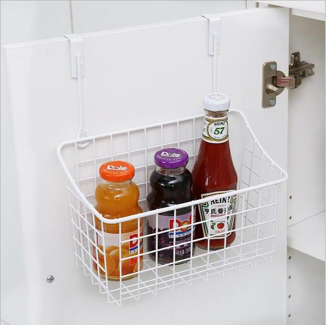 Simple Metal Hanging Basket Iron Rack Cabinet Door Storage Shelves Kitchen E Single Shelf Save Organizer Holder