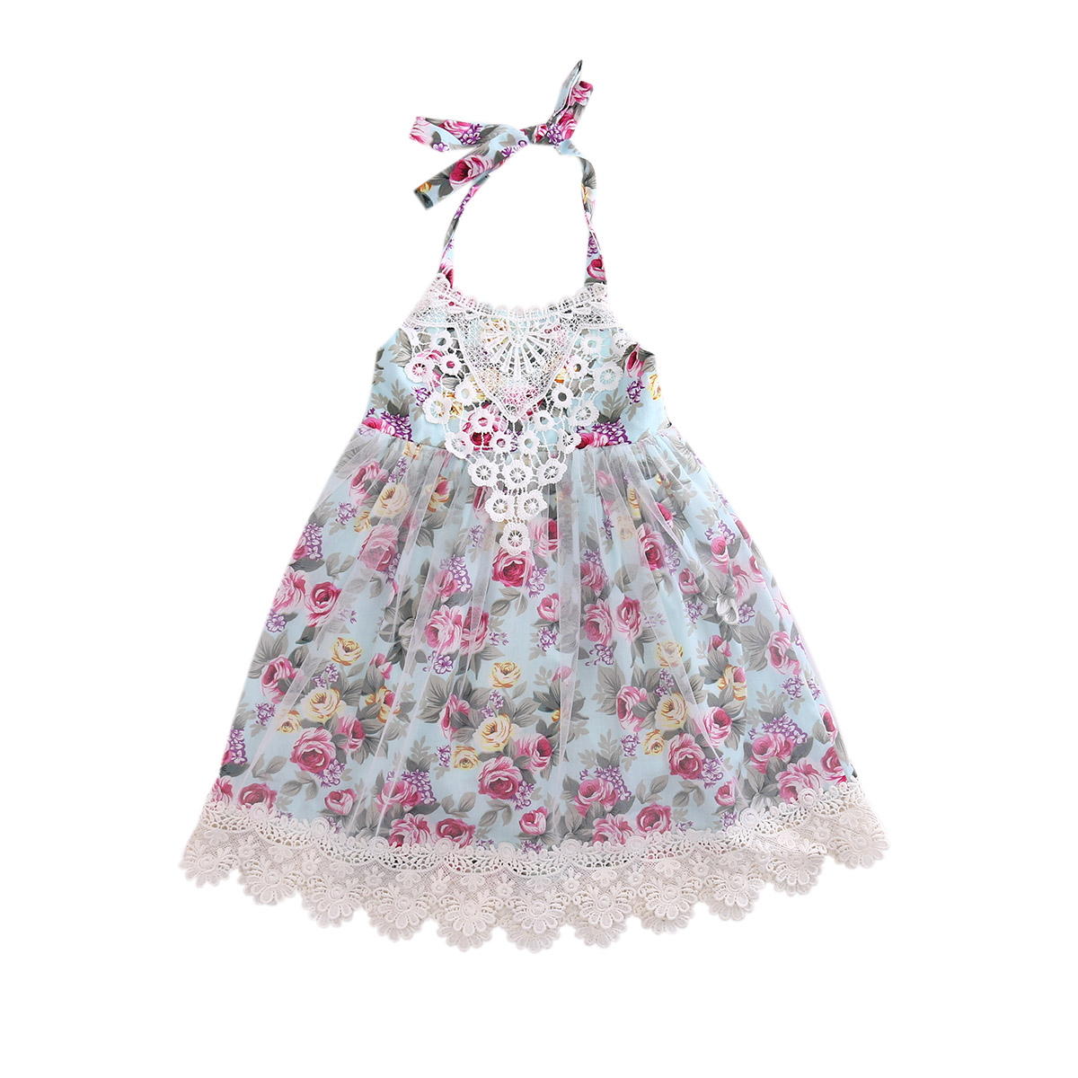 Toddler Kids Baby Girls Lace Floral Dress 2017 Summer Tulle Party Dresses Summer Sundress Children Clothes ems dhl free 2017 new lace tulle baby girls kids sleeveless party dress holiday children summer style baby dress valentine