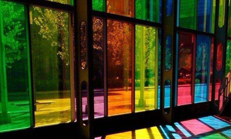 Farbige Glasfolie Fensteraufkleber Unidirektionale Transparent  Undurchsichtig Sonnenschutz Schattierung Isolierte Schiebetür Verziert  0,5x1 Mt