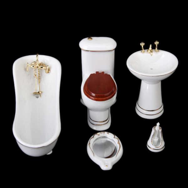 Nowy 5 sztuk biały 1/12 miniaturowy domek dla lalek łazienka zestaw Hamamelidaceae ceramiczne wystrój akcesoria meblowe udawaj zagraj w klasyczne zabawki