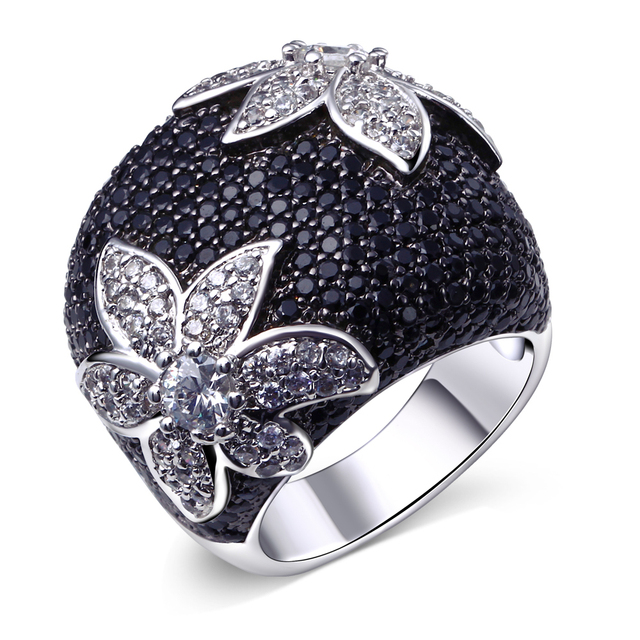 Black flower ring setting full black CZ birthday party jewelry White gold/Gold plated Large Jet and white Sparkly Zirconia Ring