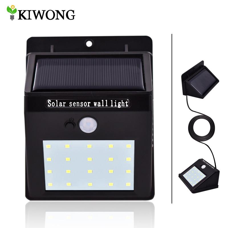 separable solar lights 20 16 leds pir motion sensor with dim light line outdoor waterproof. Black Bedroom Furniture Sets. Home Design Ideas