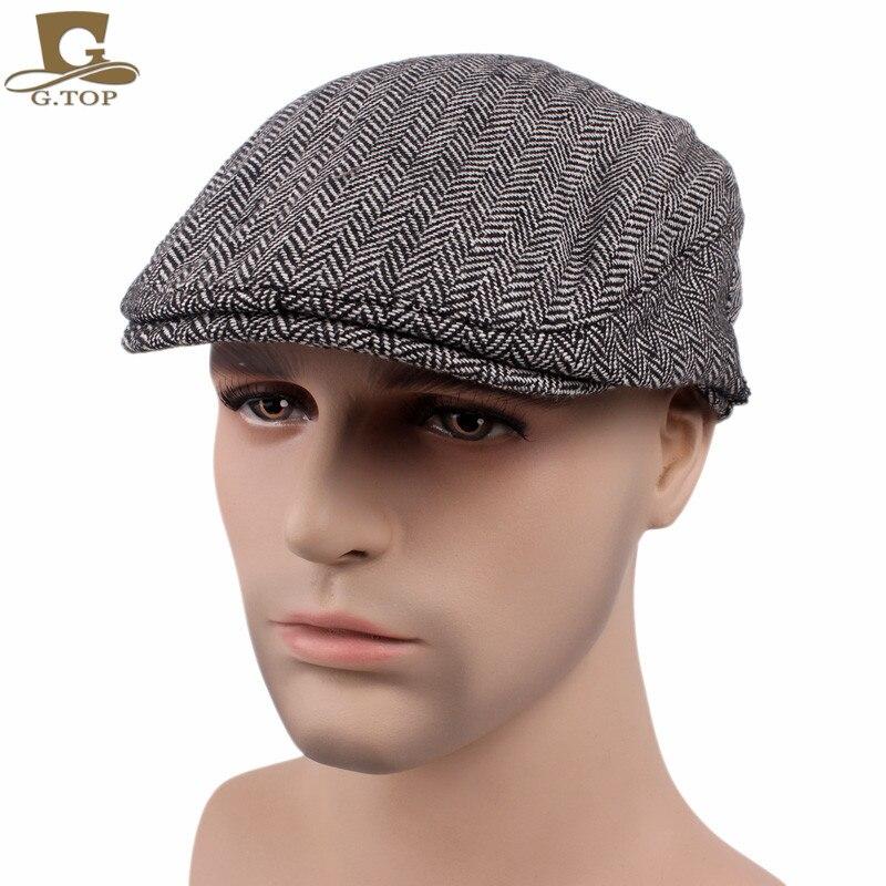 New Vintage Duckbill Driving Flat Lvy Beret Cap Cotton Newsboy Peaked Sport Hat Golf Cabbie Hat