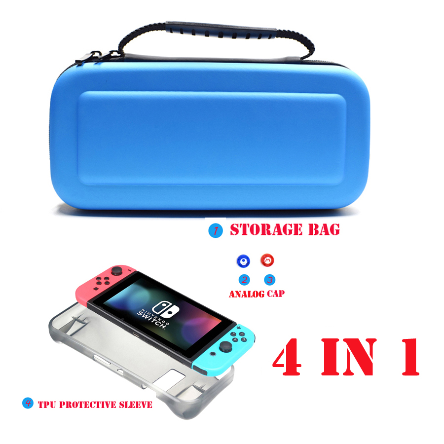 4 in 1 Nintend Switch NSAccessories Protective Carry Bag with 2 Tempered Glass Film & TPU Case for Nintendo Switch