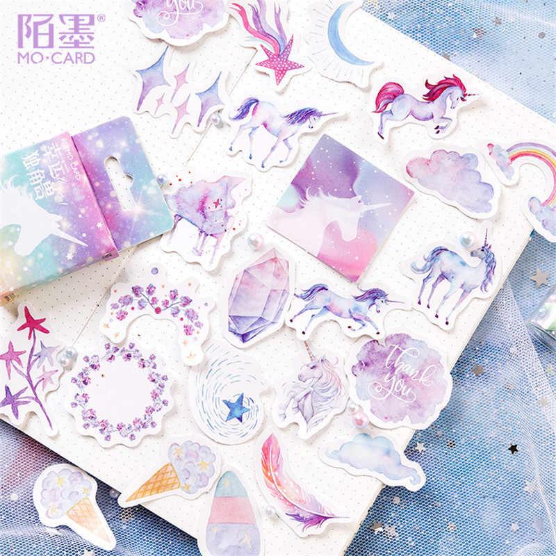 LOLEDE nowy 45 sztuk/zestaw jednorożec papiernicze naklejki Kawaii pamiętnik Handmade papier samoprzylepny płatek naklejki Scrapbooking biurowe