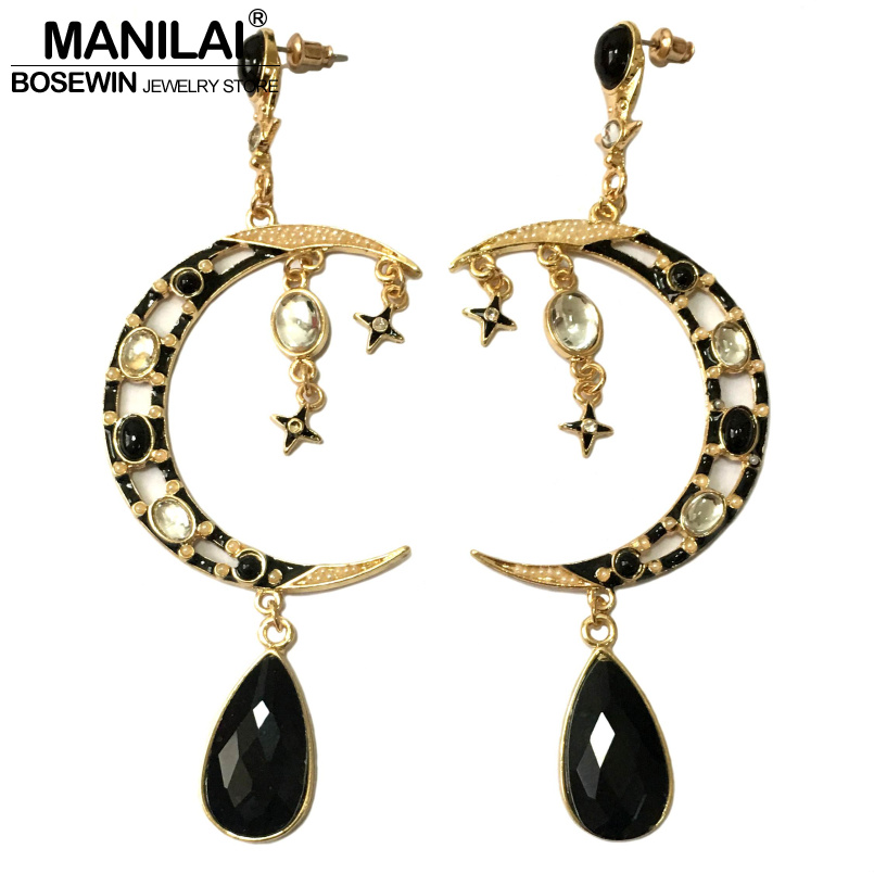 MANILAI Latest Moon Drop Big Earrings Women Brincos Pendientes Black Crystal Golden Tone Dangle Earrings Statement Jewelry FE206
