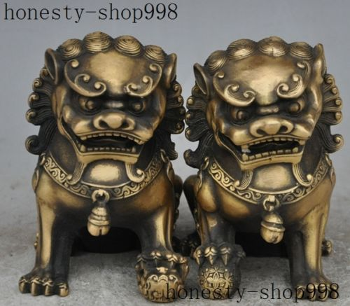 christmas Chinese fengshui bronze Evil Guardian animal beast foo fu dog lions Statue pair halloween
