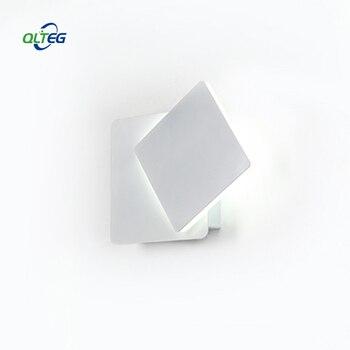 QLTEG Applique Da Parete Led 360 gradi di rotazione regolabile lampada da parete comodino luce 4000 K Bianco creativo Nero moderno corridoio quadrato lampada
