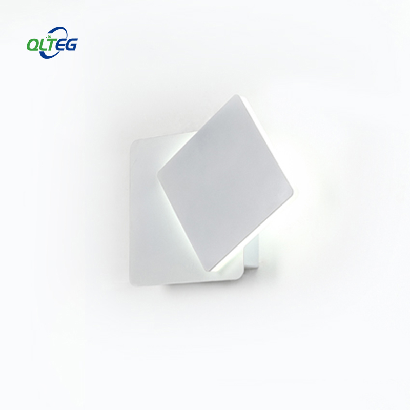 QLTEG LED Wall Light 360 degree rotation adjustable bedside light 4000K White creative wall lamp Black modern aisle square lamp