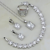 925 Silver Jewelry White Australian Crystal Bridal Jewelry Sets For Women Wedding Bracelets Necklace Pendant Earrings