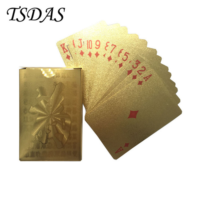 Waterproof 24k Gold Foil Playing Cards With FU Design Full Deck Custom As Birthday Gift