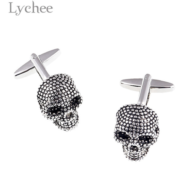 Lychee 1pair Punk Style Enamel Skull Cufflinks 3d Skeleton Sleeve Button Jewelry Ball