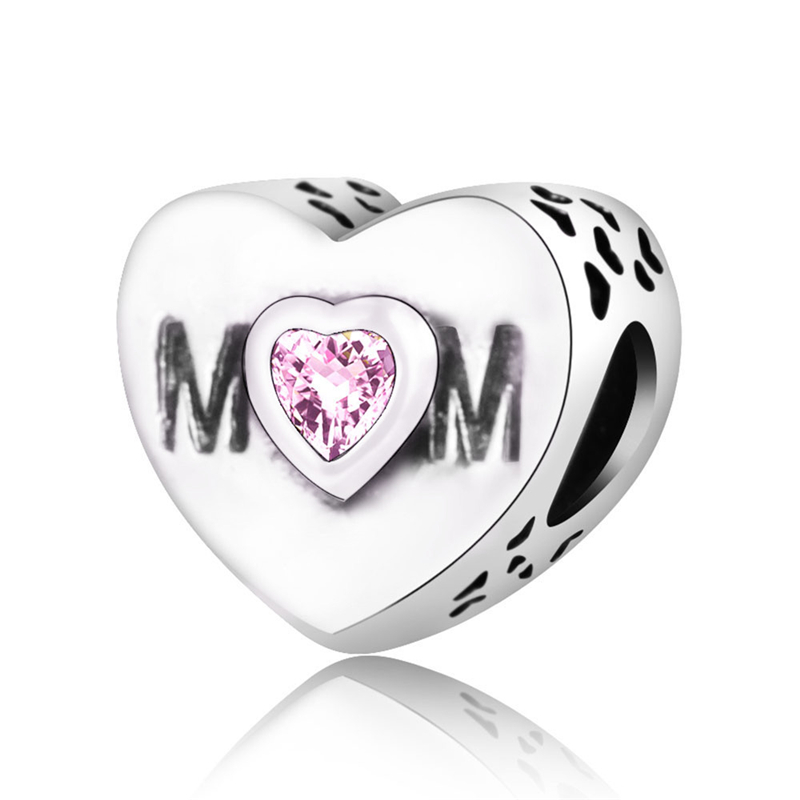 Lucky Sonny Fit Pandora Charm Original Bracelet Silver 925 DIY Berloque Enamel Heart Charm Bead With Pink CZ Mothers Day Gift