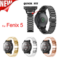 22mm Width Outdoor Sport Watch Band Quick Fit Classic Stainless Steel Strap Band For Garmin Fenix
