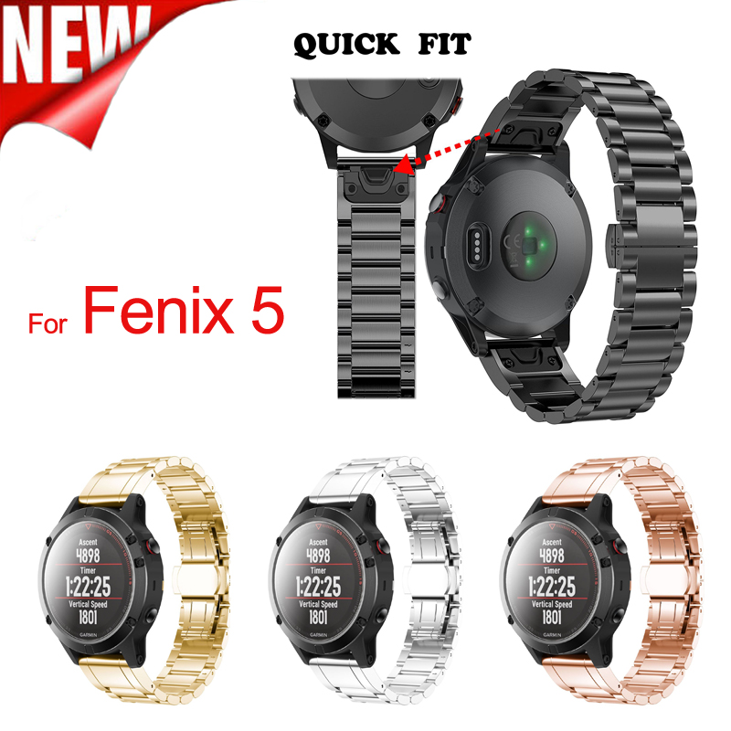 Stainless Steel Strap for Garmin Fenix 5 Plus Band with Quick Fit Metal watchband 22mm Width for Garmin Fenix 5/Forerunner 935