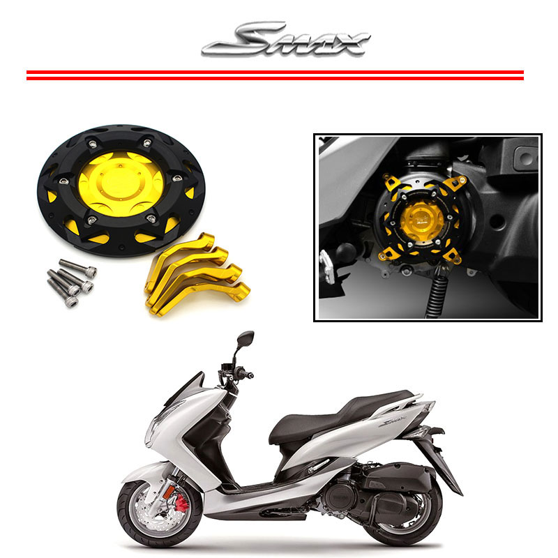 Motorcycle CNC Aluminum Engine Guard Cover Protector For Yamaha SMAX155 2013-2015 Black Color motorbike scooter cnc aluminum alloy rotatable spinable cooling fan cap cover protector guard for yamaha bws x 125 cygnus 125