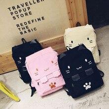 Fylone Big Schoolbags Black SchoolBags  Casual Women Backpack Canvas School Bags for Girls Cute Cat Book Bag Printing Back Pack
