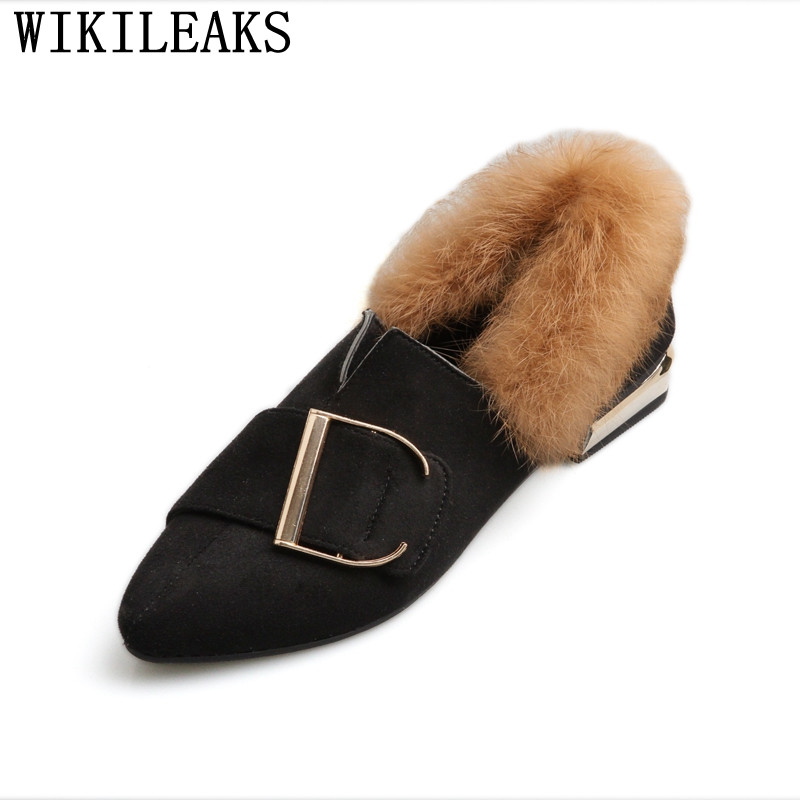 2017 new designer women shoes luxury brand flat shoes women fur slip on loafers zapatillas mujer casual ladies shoes black brown new designer women fur flats luxury brand slip on loafers zapatillas mujer casual ladies shoes pointed toe sapato feminino black