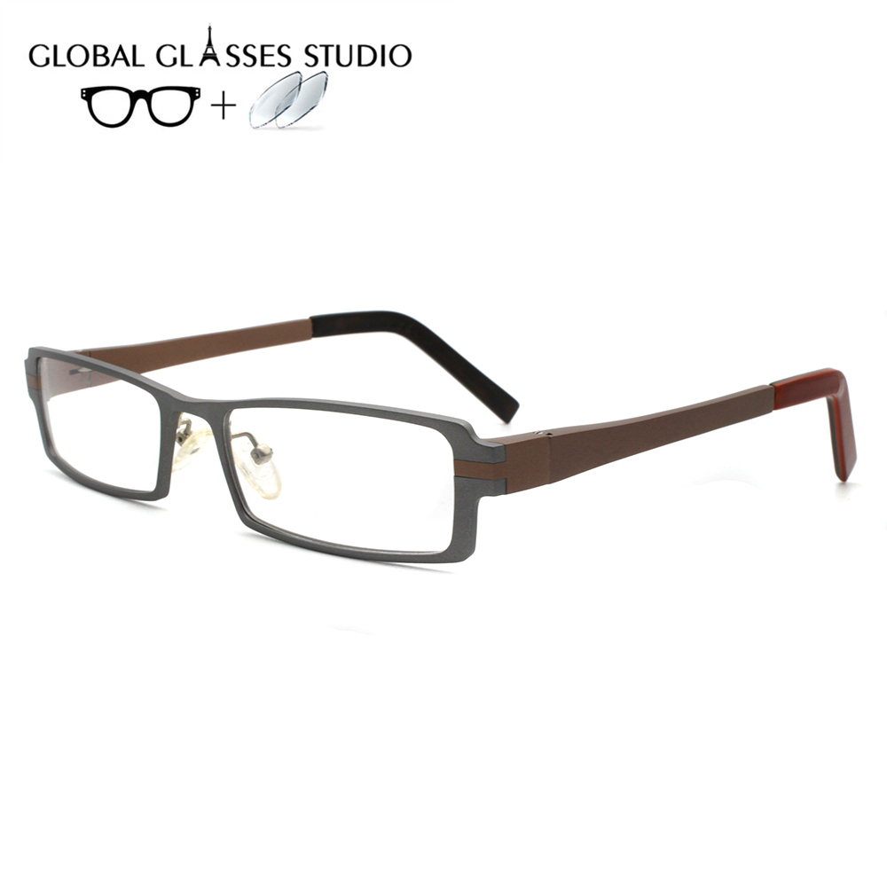 Men Or Women Metal  Glasses Frame Eyewear Eyeglasses Reading Myopia Prescription Lens 1.56 Index A411 Gray(China)