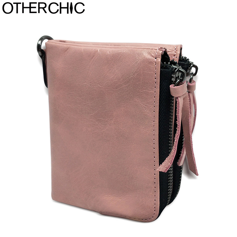 OTHERCHIC Vintage Genuine Real Leather Women Short Wallets Double Zipper Small Wallet Coin Pocket Female Purse Money Bag 7N03-58 otherchic women short wallets small simple wallet zipper coin pocket purse woman female roomy wallet purses money bag 7n01 14