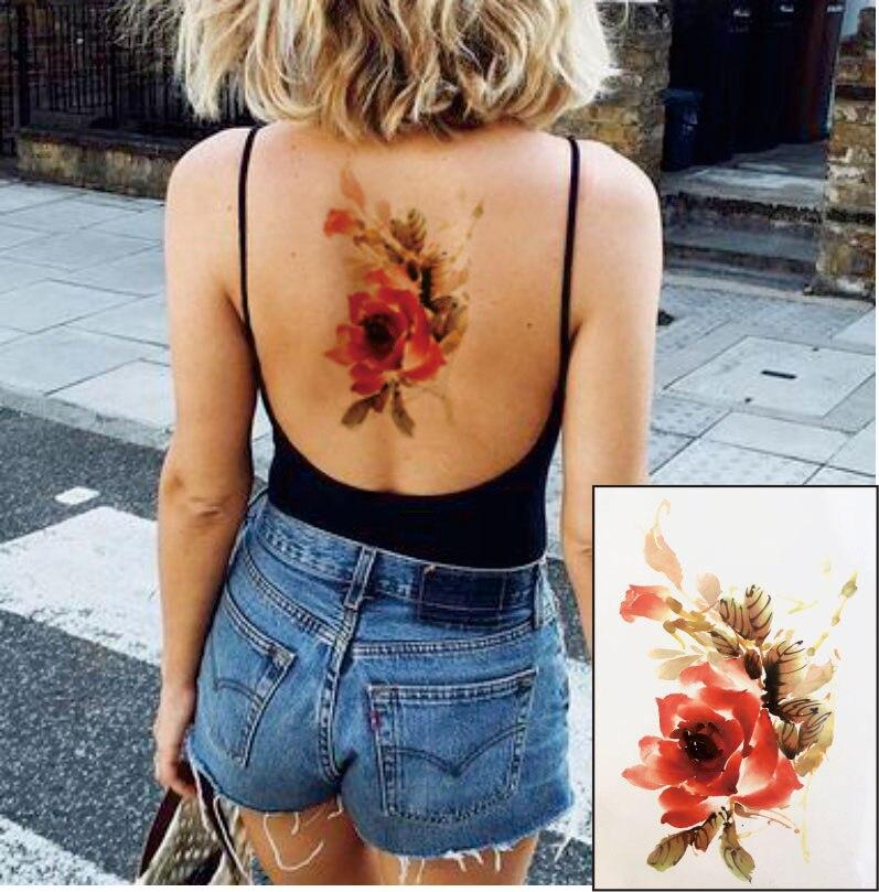 Ft08 Aquarell Blume Temporäre Körper Tätowieren So Schön Kann Verwendet Werden Für Schulter, Oberschenkel, Oder Zurück Körper Docor