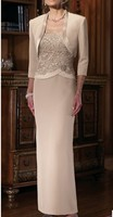 With Jacket 2019 Mother Of The Bride Dresses Sheath Lace Beaded Plus Size Long Wedding Party Dress Mother Dress For Wedding