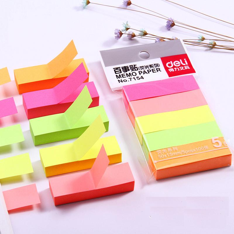 10 Packs x 5 Colors x 20 Sheets Colored Vintage Stickers Self-Adhesive Sticky Notes Post It Office And Business Deli 7154