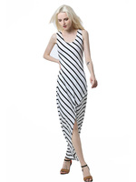 Summer Dress Plus Size Robe Outside The Model Real Shot Ebay Speed Sell Women's Stripes In Europe And America Irregular