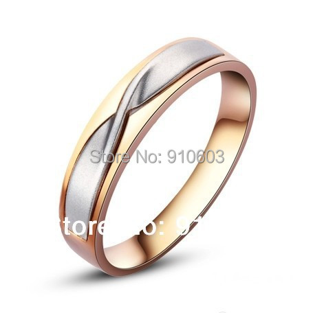 9k Pure Gold Men S Ring With No Diamond Of Tie Style Engagement And Wedding Two Tone For Not Simulated In Rings From Jewelry