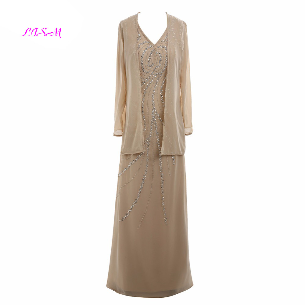 Elegant Chiffon Mother Of The Bride Dresses With Jacket V-Neck Crystals Beaded Long Formal Gowns Women Plus Size Godmother Dress