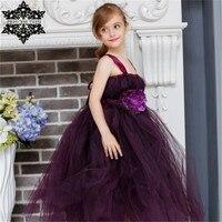Princess Tutu Handmade Purple Flower Tulle Girl Tutu Dresses Costume Kids Pageant Dance Wedding Birthday Bridesmaid Party Dress