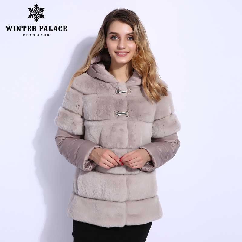 2018 Hiver manteau de fourrure court rabblt manteau doudoune style rabblt manteau femme véritable rabblt manteau pour femmes HIVER PALAIS