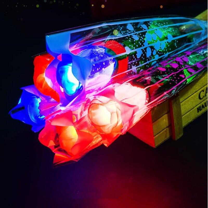 로맨스 led 라이트 업 장미 꽃 발렌타인 데이 선물 웨딩 홈 파티 장식 제안-에서글로우 파티 용품부터 홈 & 가든 의  그룹 1