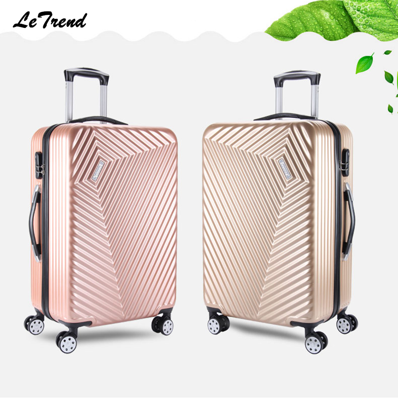 Letrend New Rolling Luggage Spinner Men Trolley Travel Bag Password Box 20 inch Boarding Bag 24inch Trunk Women Suitcase Student luggage 2pcs set 14 inch and 20 22 24 26 inch box rolling suitcase universal wheel travel box password girl luggage bags trunk