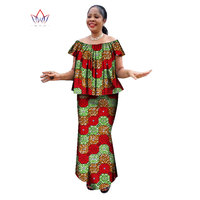 summer womens african plus size clothing skirt set o neck traditional african clothing short sleeve work dress natural WY1357