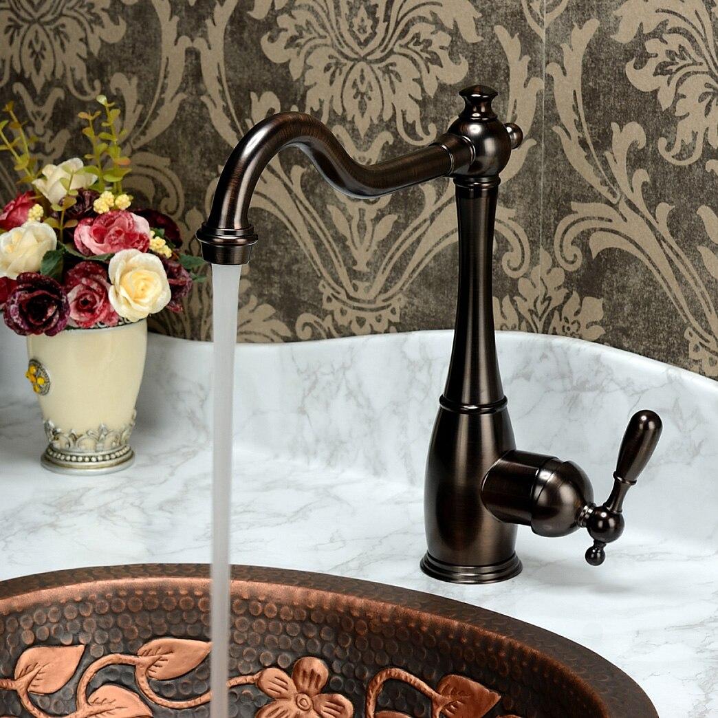 Robinet de cuisine antique de style ancien, cuivre pur chaud et froid, robinet de lavabo européen lavé rétro en cuivre vert