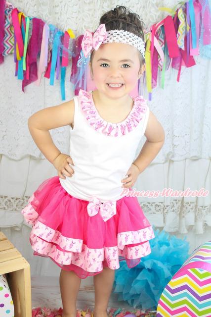 Páscoa laço branco Top Hot Pink Bunny cetim guarnição Pettiskirt equipamento da menina nb-8a MAPSA0604