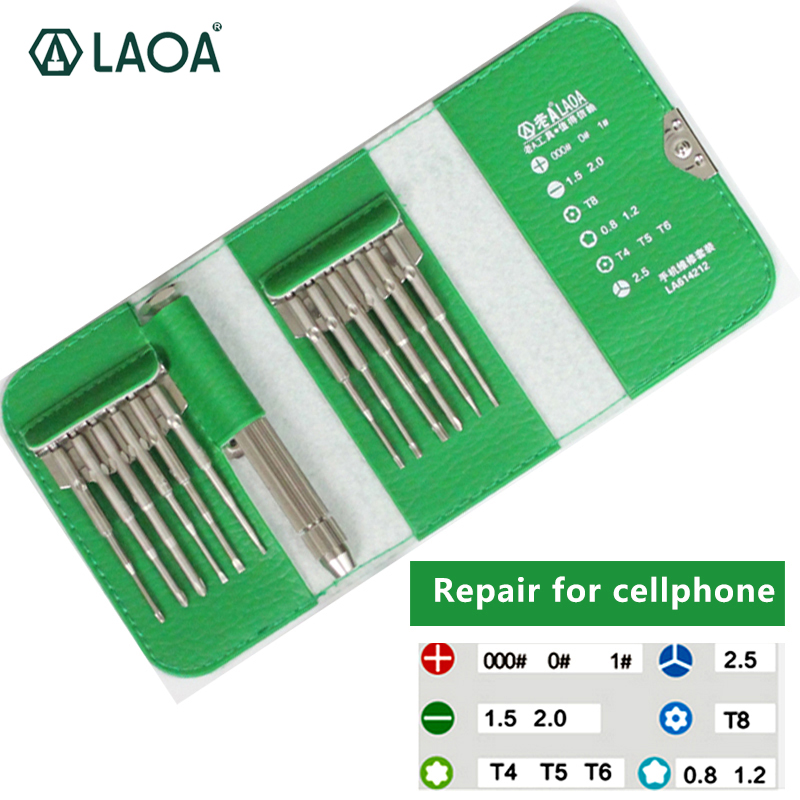 LAOA precision screwdriver material S2 12 in 1 multifunction high quality repair for Iphone Samsung Cellphone Clock Laptop laoa 25 in 1 profession screwdriver sets high quality s2 alloy steel repair kit precision tools free gift 8 pcs