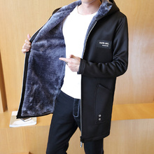Осенняя и зимняя мужская Длинная ветровка с капюшоном, плюс бархатная Толстая теплая Модная красивая Повседневная куртка большого размера 4XL 5XL