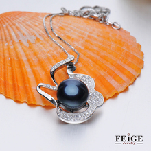 FEIGE 10-11mm Natural Freshwater Pearls 925 Sterling Silver Pendant Necklaces For Women Trendy Style 18 Inch Chain Necklaces