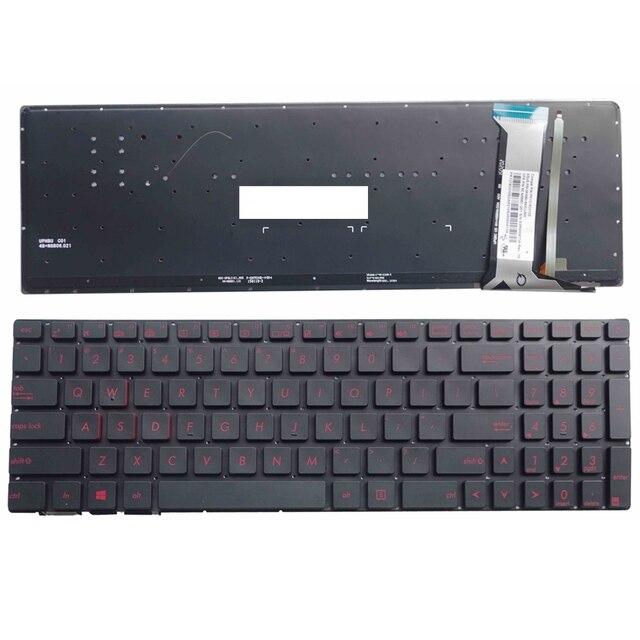 """מקלדת חדשה לASUS GL552 GL552J GL552JX GL552V GL552VL GL552VW N552VW N552VX G771JM G771JW מקלדת מחשב נייד בארה""""ב עם תאורה אחורית"""