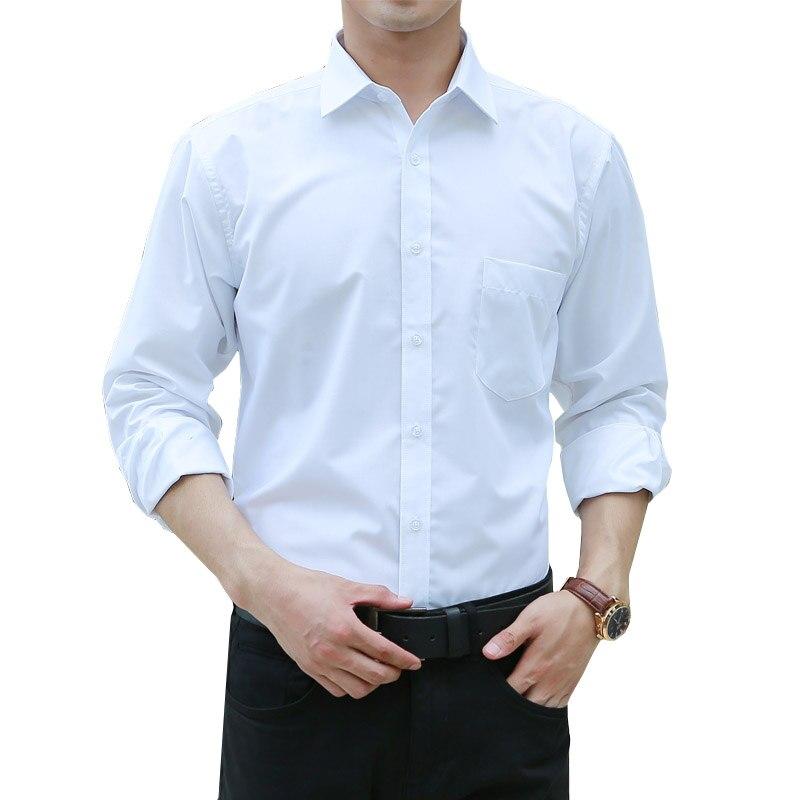 Men Clothes 2018 Autumn Fashion White Men s Shirts Solid Color Black Formal Long Sleeve Business