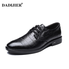 DADIJIER New Fashion Wedding Shoes Men Pointed Toe Oxfords Man Dress Leather Shoes British lattice Formal Zapatos Hombre JH143