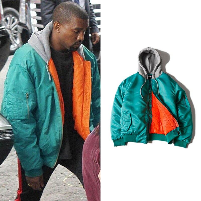 Kanye West MA1 Pilote Bombardier Veste À Capuche Mâle Épais 2018 Tendance Streetwear Pur Couleur Plissée Manches Zipper Lâche Vêtements Urbains
