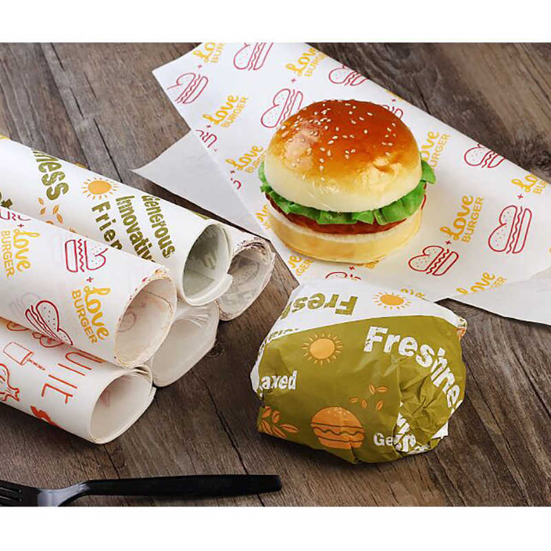 Disposable Anti-oil Packing Paper Fast Food Packing Paper Cartoon Hamburger Chicken Roll Takeaway Packing Sandwich 50pcs/set
