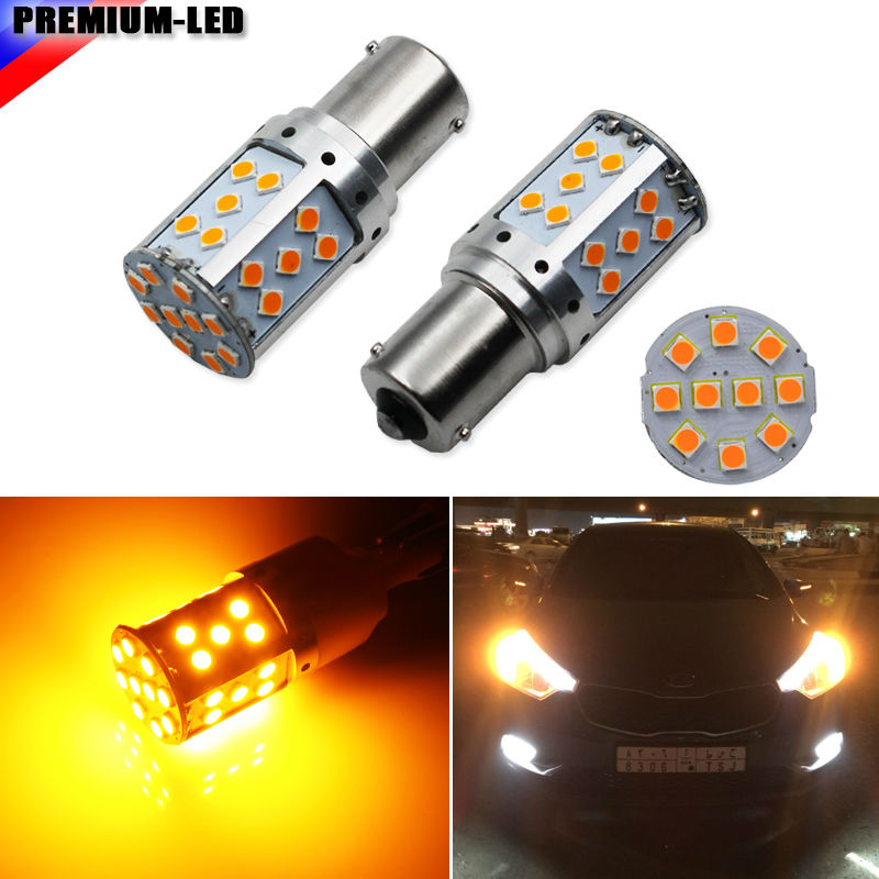 (4) No Resistor, No Hyper Flash 21W High Power Amber BAU15S 7507 PY21W 1156PY LED Bulbs For Car Front or Rear Turn Signal Lights 2 no resistor no hyper flash 21w high power amber bau15s 7507 py21w 1156py led bulbs for car front or rear turn signal lights