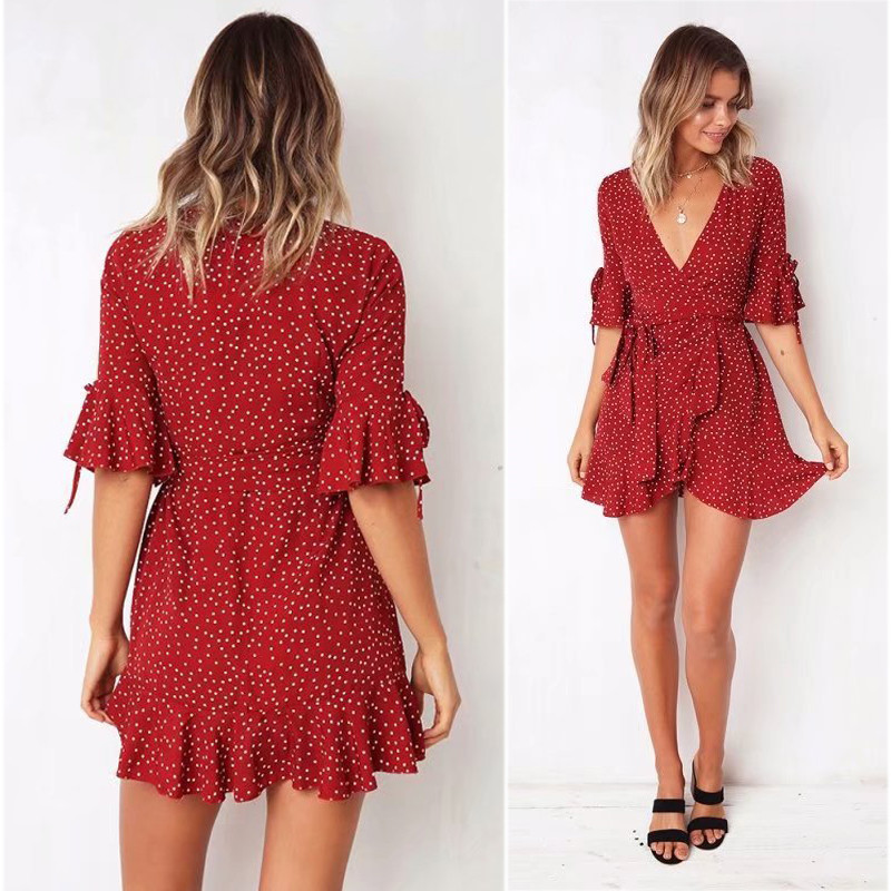 916e38e3c846c ... yinlinhe Red Polka Dot Summer Dress Short Sleeve V neck Sexy Wrap Dress  Women Slim Waist ...