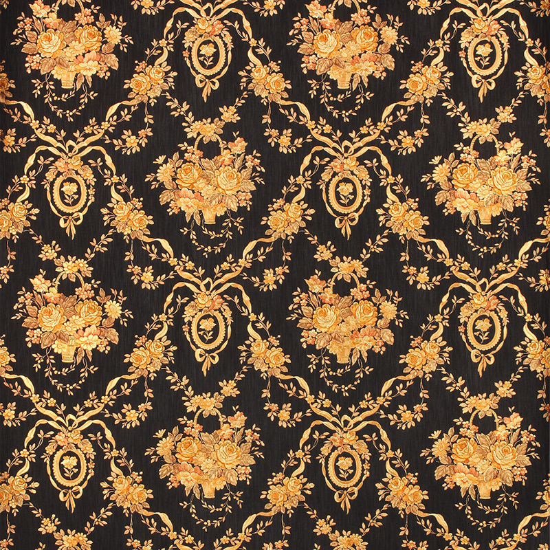 European Luxury Black Floral Background Wallpaper 3d
